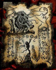 RITES OF TSATHOGGUA Cthulhu larp Necronomicon Scrolls by zarono Hp Lovecraft, Lovecraft Cthulhu, Call Of Cthulhu, Art Cthulhu, Dark Fantasy Art, Fantasy Rpg, Deviant Art, Larp, Magick