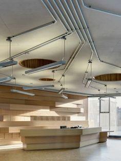 Open web truss exposed duct runs rigid conduits - Sheffield school of interior design ...