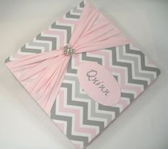 Baby Memory Book /girl /PINK GREY CHEVRON and sash by JaDazzles