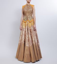 Brown & Mustard Printed & Embroidered Silk Lehenga