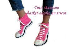TUTO CHAUSSON CHAUSSETTE BASKET ADULTE AU TRICOT FACILE slipper sock knitting basket adult, My