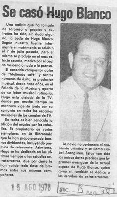 Se casó Hugo Blanco. Publicado el 15 de agosto de 1978.
