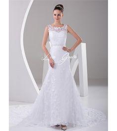 Chic White Satin Jewel Neck Lace A-line Bridal Wedding Dress $189.89