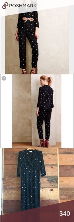 Harlyn jumpsuit from anthropologie Adorable and comfy! Has small top hat print. Great for so many seasons. Can be styled up or down! Anthropologie Other