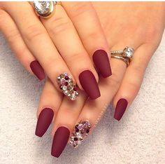 Burgundy Nails. Matte. Red. Velvet. Christmas. Jeweled. Diamonds. Club. Elegant. Nail art.