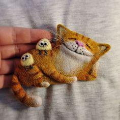 Броши ручной работы. Ярмарка Мастеров - ручная работа. Купить Валяные броши-коты для примера. Handmade. Рыжий, из шерсти, котенок