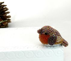 Tiny Robin Beade Bird Figurine  by Meredith Dada