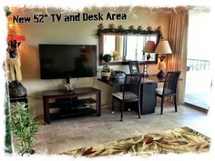 "Enjoy a new 52"" Flat Screen TV with cable, HD channels and DVR box.  Also large desk area can be used for computer work as free Wi~Fi is included for all our guests at my Condo~In ~The ~Sky  For information about renting this beautiful condo for your next vacation, email me at:  condo.in.the.sky.mvt1612@gmail dot com"