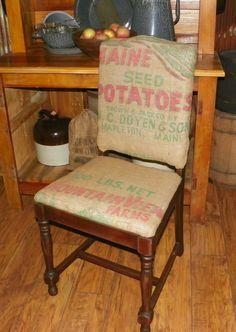 Potato sack burlap chair