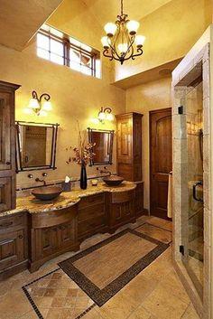 Bathroom , Inviting Tuscan Bathroom Design : Tuscan Bathroom Design With Small Chandelier And Yellow Walls