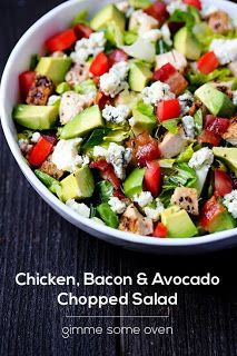 Chicken, Bacon & Avocado Chopped Salad but feta instead of blue cheese, uses homemade garlic vinaigrette. Tried it and it was delicious! Think Food, I Love Food, Good Food, Yummy Food, Bacon Avocado, Avocado Salad, Cobb Salad, Bacon Salad, Quinoa Salad