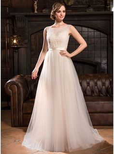 A-Line Princess Scoop Neck Sweep Train Tulle Lace Wedding Dress With  Beading Sequins 0e213f3d6dd5