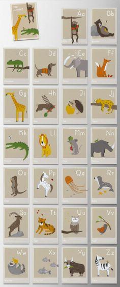 """Weiteres - 26 Karten """"Tier-Alphabet"""", ABC - ein Designerstück von -blablub- bei DaWanda"""