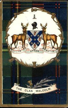 Our Tartan: MALCOLM Scottish Clan Tartan Background & Shield Heraldic c1910 Postcard   eBay
