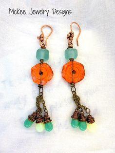 Orange and turquoise earrings, Copper, ceramic, czech glass logn dangle boho earrings. McKee Jewelry Designs
