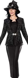 GMI G6093-Black - Embellished First Lady Church Suit