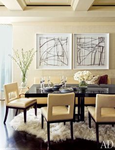 The updated dining area of furnishings maestro Steven Stark and his wife's sun-splashed Manhattan pied-à-terre.