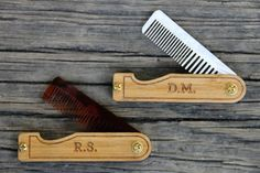 """Guaranteed to work on any mustache, Van Dyke, and most mutton chops, this personalized handmade folding wood mustache comb is hand-crafted from tortoise shell acrylic and has a bamboo handle which can be personalized with your favorite initials or monogram. Folds neatly into its handle and rides well in a dopp kit. Approximately 3.6"""" folded.  Handmade in Texas! 