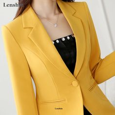 Lenshin High Quality Blazer Straight and Smooth Coat Office Lady Style Jacket Business formal clothes Candy Color Heavy Tops - Work Outfits Women Office Look Women, Office Outfits Women Casual, Blazer Outfits Casual, Office Fashion Women, Blazer Fashion, Office Ladies, Dress Outfits, Womens Fashion, Blazer Jackets For Women