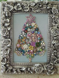 Vintage Jewelry Framed CHRISTMAS TREE *Silver ROSES*PINK Star*Pink ROSES*