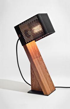 Handcrafted Oblic Wood Table Lamp                              …