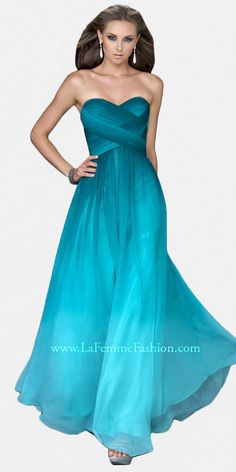 Green Ombre Chiffon Evening Gowns by La Femme at eDressMe