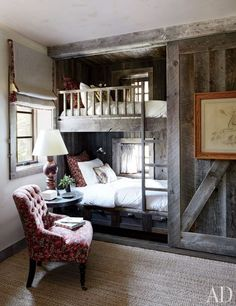 Rustic Bedroom Design Ideas - pictured: The bunk room of a Big Sky, Montana, lodge is partially sheathed in reclaimed corral boards. Markham Roberts Design : canadianloghomes --- pp: love the built-in bunkbeds.each has its own window for daydreaming. Rustic Bunk Beds, Farmhouse Bunk Beds, Home Bedroom, Bedroom Decor, Bedroom Ideas, Bedroom Inspiration, Bedroom Storage, Budget Bedroom, Extra Bedroom