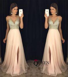 Mint Black Royal Blue Champagne Chiffon A-Line Beaded Top Low V-Neck Side Slit Long Prom Dress, Formal Gown With Deep V Bare Back