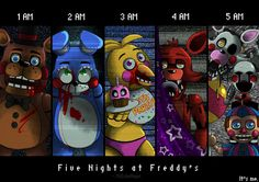 "This is not true for night 6. In like 10 seconds Foxy is in the hallway trying to rape me, Withered Bonnie and Chica teleport into my office looking horny and BB is jerking off in the left vent saying ""Hi"" and shit."