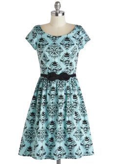 Turn of the Sensory Dress in Teal. Turn off your computer, tune in your senses, and take this statement-making dress to the vintage cocktail lounge tonight! #blue #modcloth