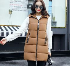 Fashion women's vests hooded 2017 winter coat women vest long slim outerwear ladies coats red thick vest female