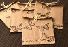 Handmade kraft paper envelopes with butterfly stamp sown by silini
