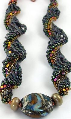 Water & Earth Dutch Spiral Bead Woven Necklace