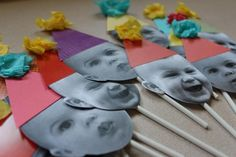 Make your own cupcake toppers by upcycling old pictures and papers to make party hats!