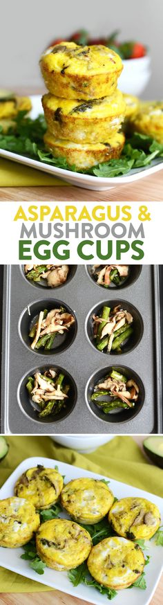 These healthy asparagus and mushroom egg cups are the perfect high protein breakfast baked in under 30 minutes!