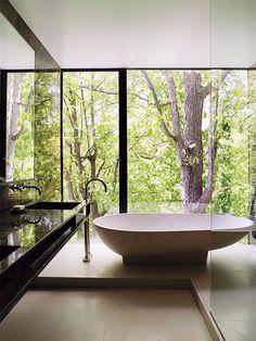 Banheiro com Banheira e paredes de vidro.