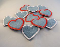 Heart Patches perfect for jackets, blue jeans, shirts, or backpacks, sewn on upcycled denim. These cute little heart patches measure 2 x 2.5 inches, a perfect size to cover tears in clothing, or just use for a small decoration. They are embroidered with polyester thread on recycled