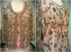 This beaded beauty is a mesh top & jacket that are just too amazing to describe. It was from a personal donation and you can imagine that lady must have caused scandal because it looks see-through! It has a very Eve in the Garden of Eden look to it and I love it! #TDFCC #KeepingUpWithTheCostumes #1960s #Beaded