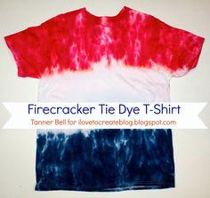 Firecracker Tie Dye T-Shirt - A Little Craft In Your Day #teencraft