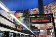"""""""Entre dos Universos"""" Rosh333 y Okuda en la  Estación Paco de Lucía/ Linea 9 de Madrjd. Proyecto Línea Zero. #Metro #Madrid #ArteUrbano #StreetArt #Arterecord 2015 https://twitter.com/arterecord"""