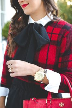 tie neck blouse, plaid sweater, christmas look, holiday outfit ideas, holiday party look // grace wainwright from a southern drawl