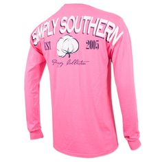 Simply Southern Cotton Long Sleeve Shirt - Neon Pink #simplysouthern #pink #southern