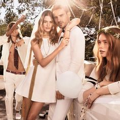 """Recent newlywed Behati Prinsloo is getting married again in the Tommy Hilfiger spring-summer 2015 campaign. The brand released a teaser of the wedding party all dressed in white on social media earlier this week. According to The Fashionisto, """"the Hilfiger family gets together for a Californian wedding, complete with air guitar, experimental dance moves and friends old and new."""""""