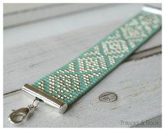 Bracelet de diamants Delica Loom perlée en vert océan & Silver