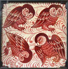 Antique British Owls Picture Tile by William De Morgan Jackfield Tile Museum Victorian Tiles, Antique Tiles, Vintage Tile, Motif Art Deco, Art Nouveau Tiles, William Morris, Tile Patterns, Textures Patterns, Owl Pictures