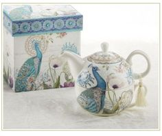 "5.7"" Porcelain Tea For One in Box, Peacock"