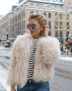 all fluffed up with stripes. #JosefinDahlberg in Stockholm.