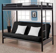 Loft Bed Frame Twin Over Full Futon Student Kids Dorm Metal Furniture Bunk  Beds