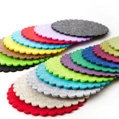 """4er Set """"SONNE""""  FILZ Untersetzer Tassenuntersetzer rund  11 cm / 31 Farben"""