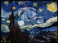 "Interactive app of the famous painting ""Starry Night"" of Vincent Van Gogh. The user can interact the animation or flow of the painting. The sound responds to it. Made with openframeworks."